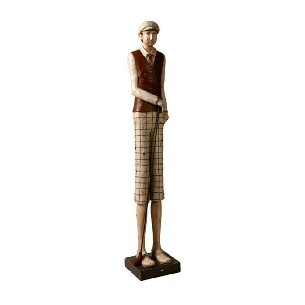 Escultura Menino com Taco de Golf Short Bege Grande em Resina - 76x16 cm