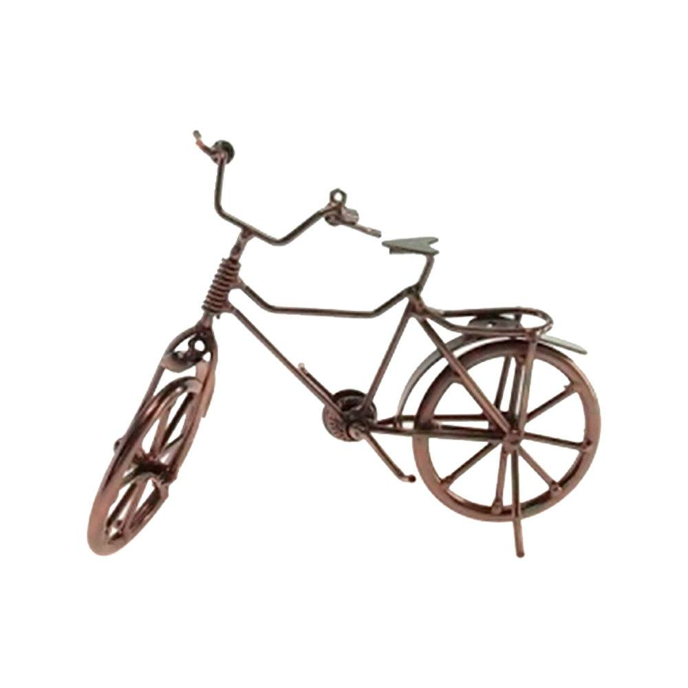 Escultura de Mesa Bicicleta com Garupa Prata Envelhecida em Metal - 19x15 cm