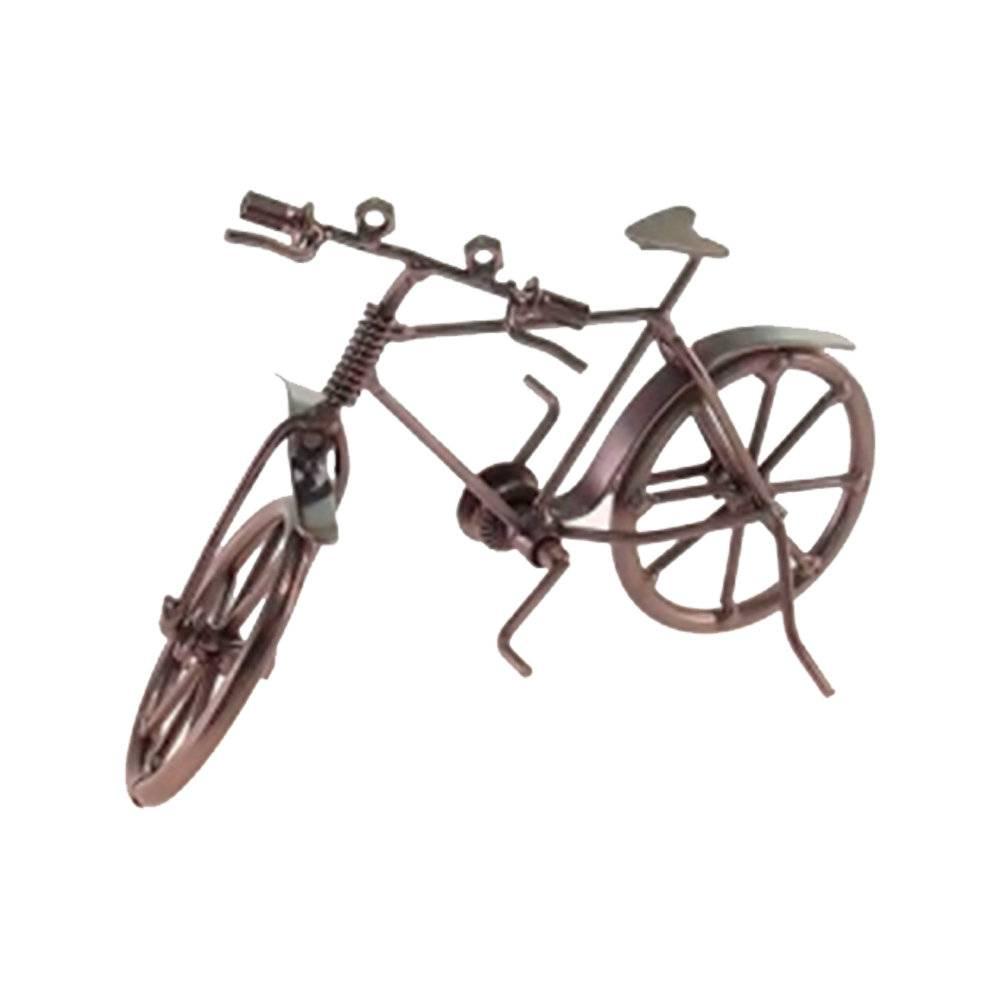 Escultura de Mesa Bicicleta sem Garupa Prata Envelhecido em Metal - 19x15 cm