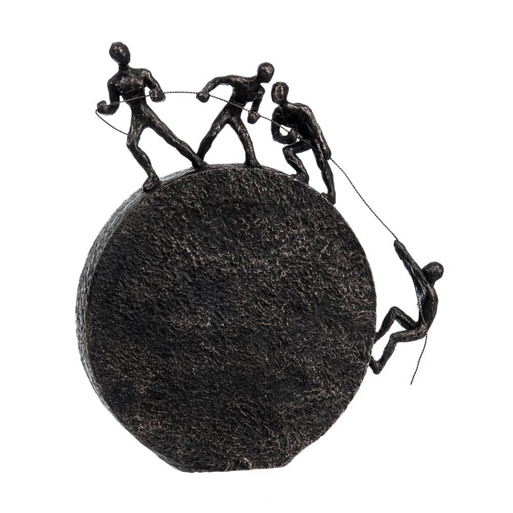Escultura de Mesa Bola com 4 Homens Preto em Cerâmica - 35x31 cm
