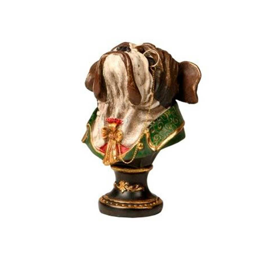Escultura de Mesa Busto Bulldog com Monóculo em Resina - 19x12 cm