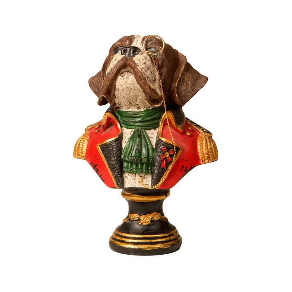 Escultura de Mesa Busto Cão com Monóculo Colorido em Resina - 20x14 cm