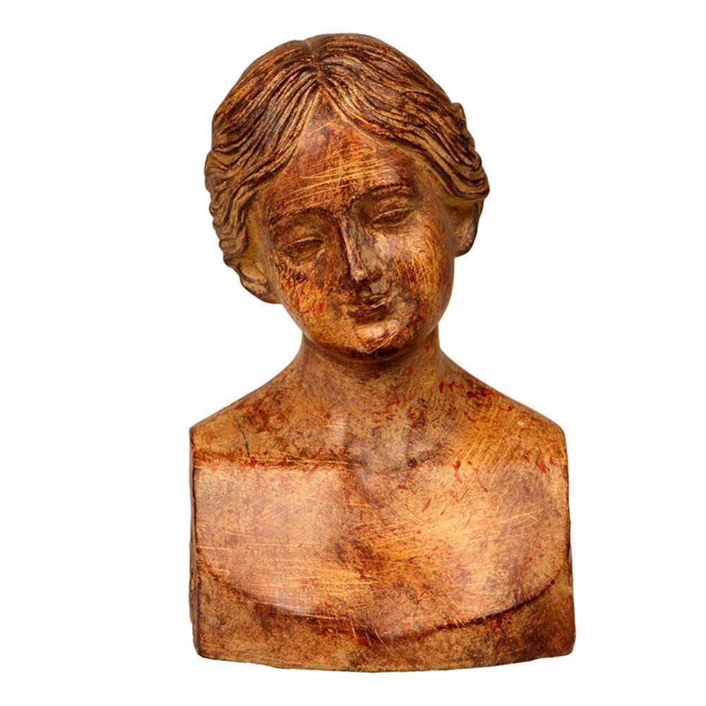 Escultura de Mesa Busto Menino Marrom em Resina - 18x11 cm