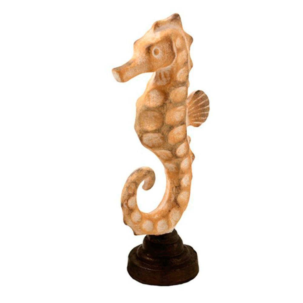 Escultura de Mesa Cavalo Marinho Bege Médio em Resina - 35x15 cm