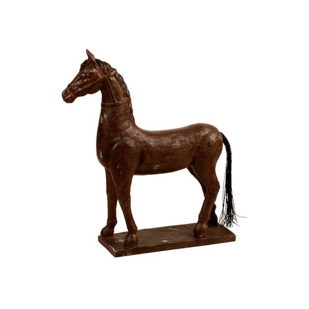 Escultura de Mesa Cavalo de Pescoço Longo Marrom em Resina - 50x42 cm