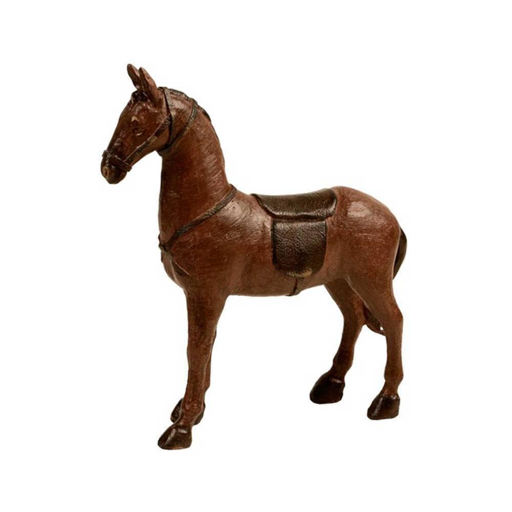 Escultura de Mesa Cavalo com Sela Marrom em Resina - 34x30 cm