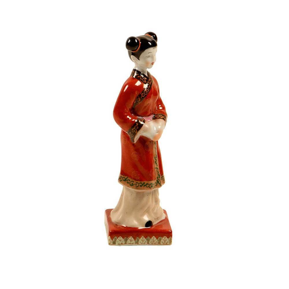 Escultura de Mesa Chinesa Vermelha em Porcelana - 24x7 cm