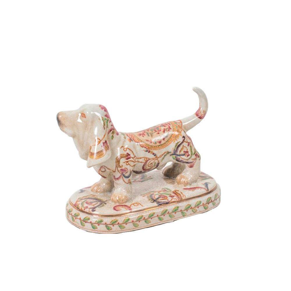 Escultura de Mesa Dog Bege Estampado em Porcelana - 20x14 cm