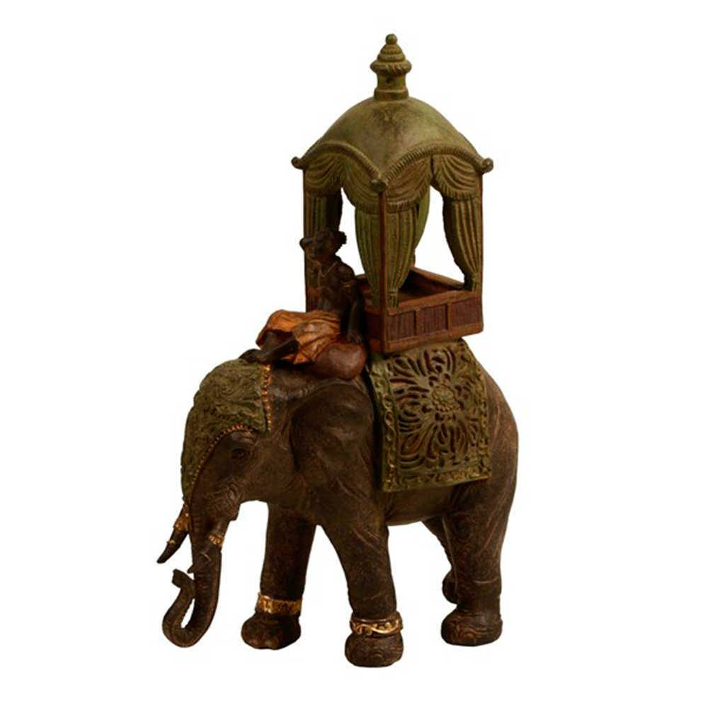 Escultura de Mesa Elefante com Guia Preto e Verde em Resina - 34x23 cm