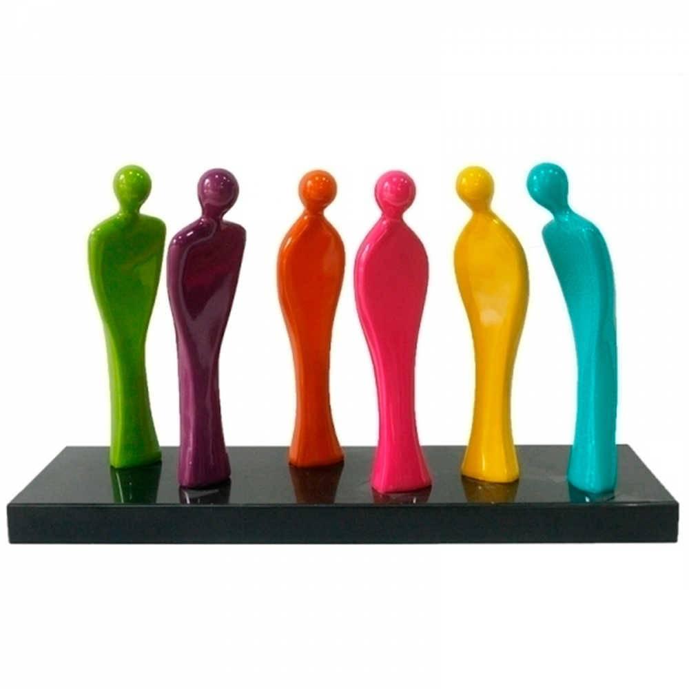 Escultura de Mesa Human Being Colorido em Resina - Urban - 65x36 cm