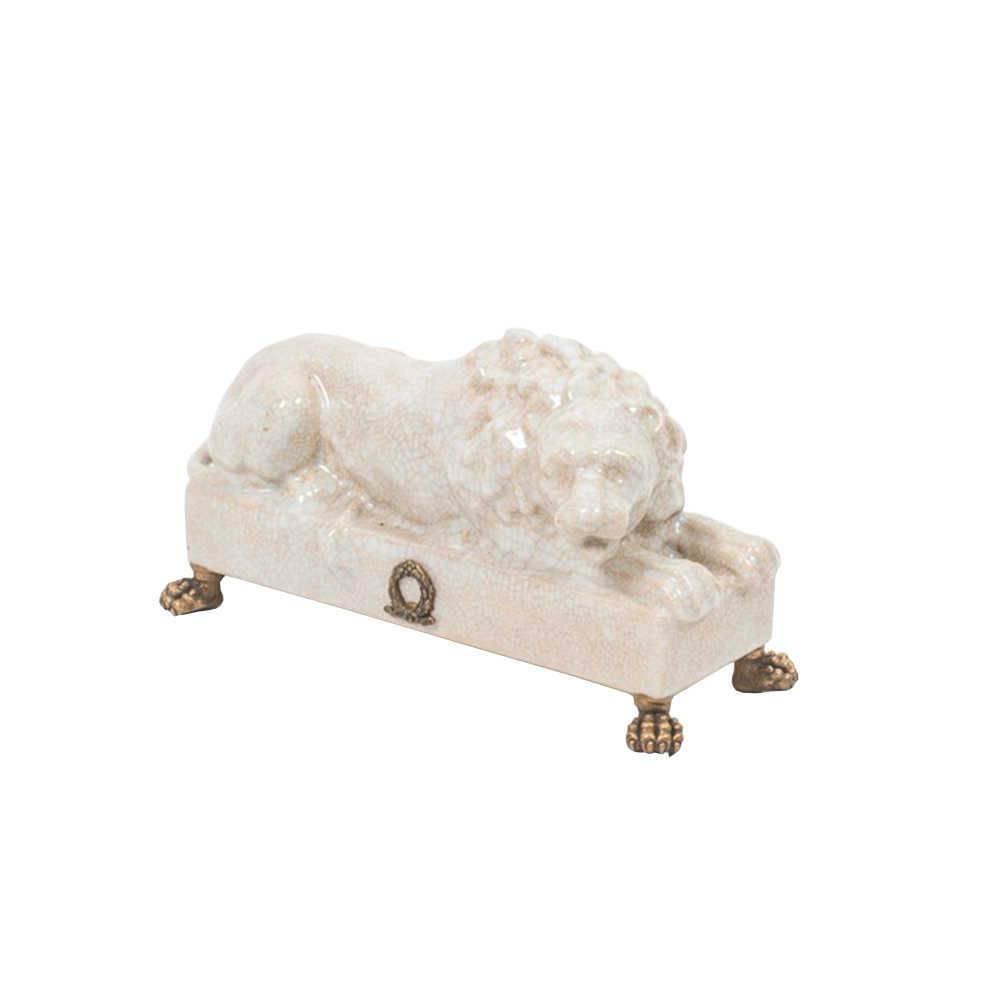 Escultura de Mesa Leão Amur Branco em Porcelana - 23x12 cm