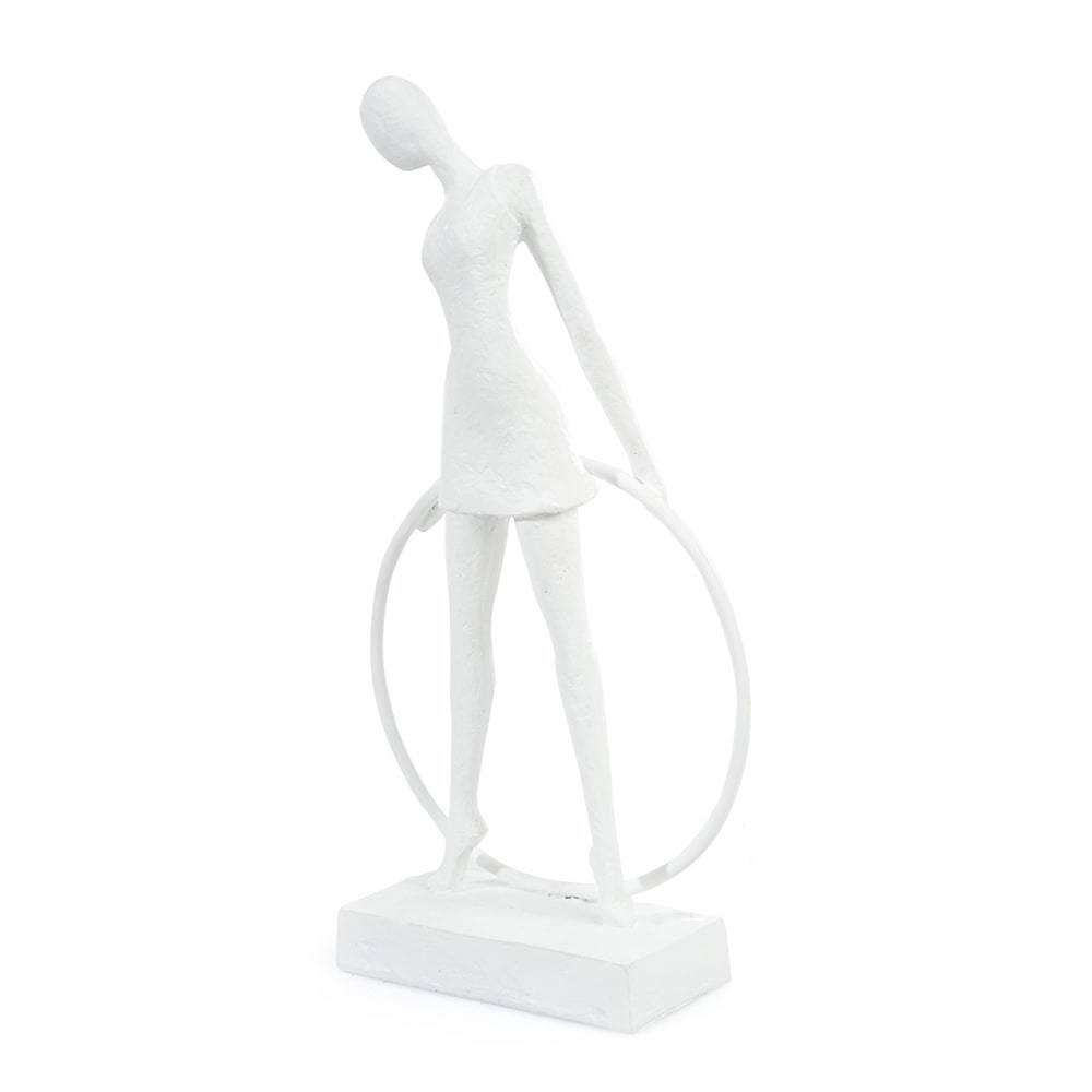 Escultura de Mesa Mulher Bambole Branco em Gesso - 30x16 cm