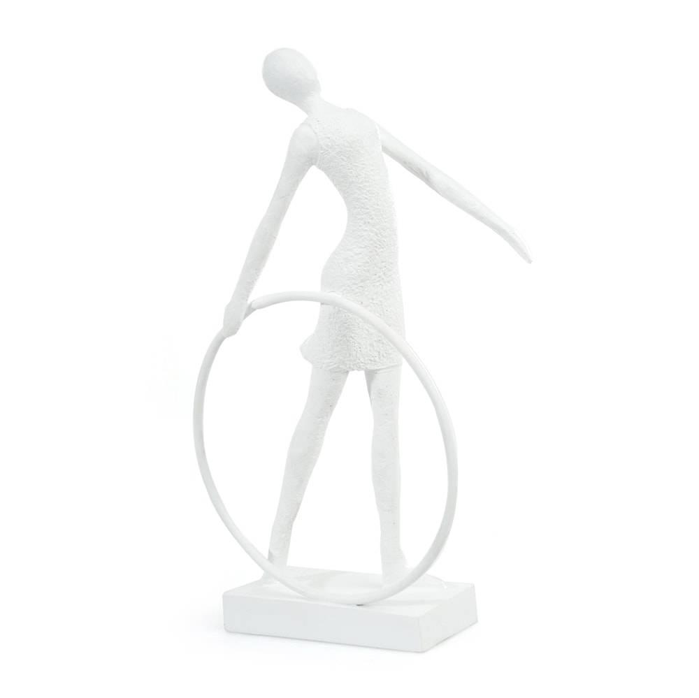 Escultura de Mesa Mulher Bambolê de Lado Branco em Gesso - 29x18 cm