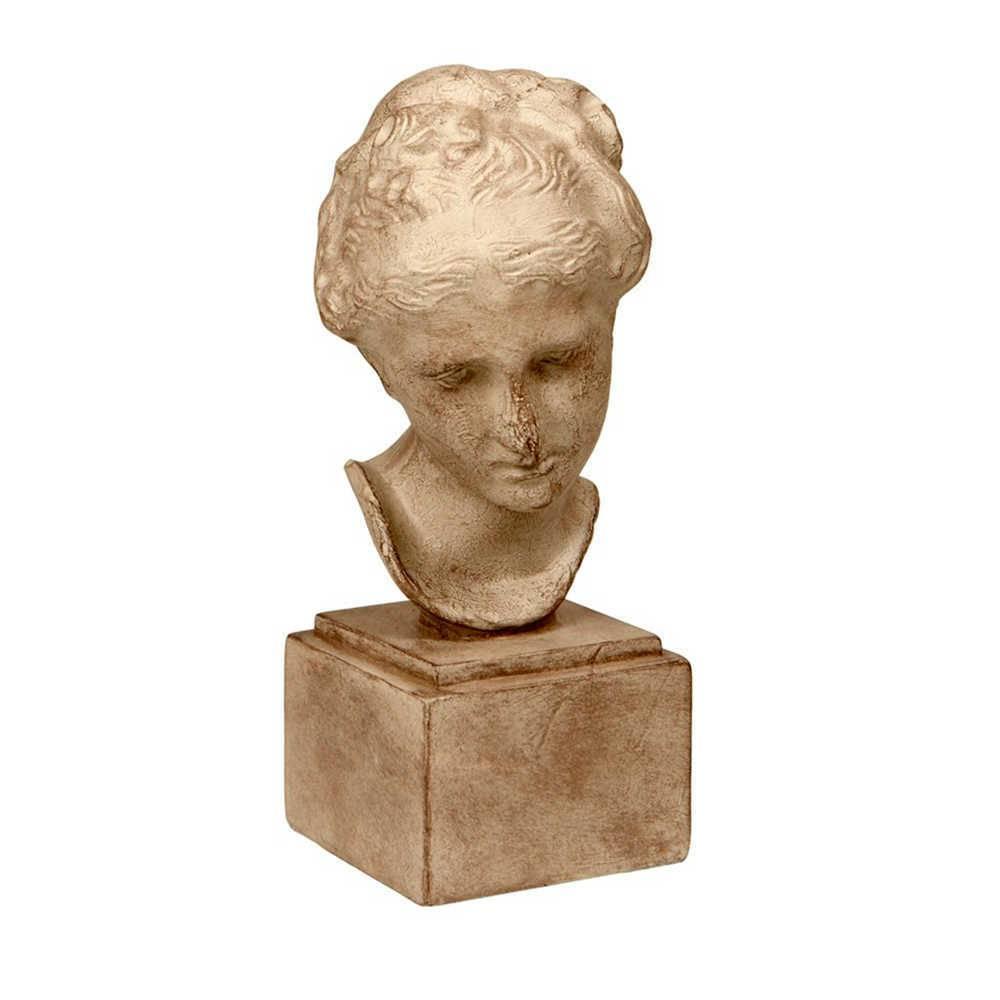 Escultura de Mesa Rosto de Mulher Branco em Resina - 32x12 cm