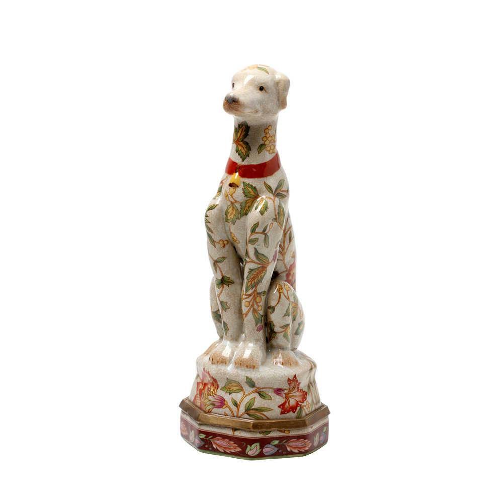 Escultura de Mesa Sitting Dog Le Jardin em Porcelana - 25x20 cm