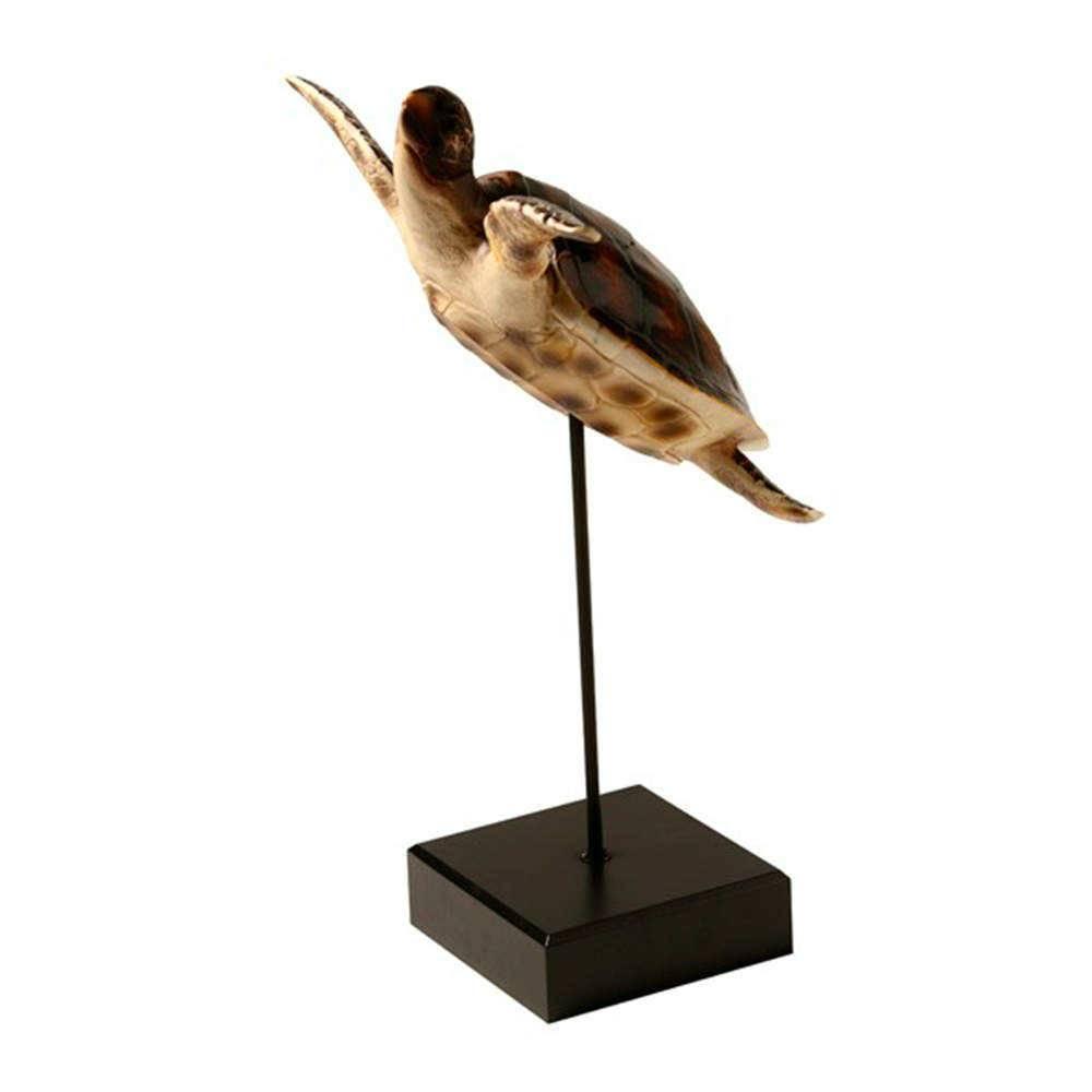 Escultura de Mesa Tartaruga Marinha Decorativa em Resina - 52x25 cm