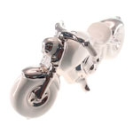 Escultura Moto Branco/Prata em Cerâmica