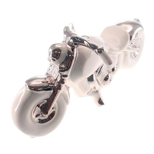 Escultura Moto Branco/Prata em Cerâmica - 32x15 cm