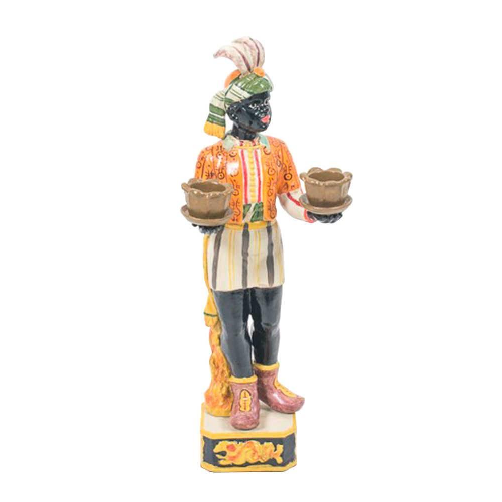 Escultura Mulher Africana com Vasos em Porcelana - 31x13 cm