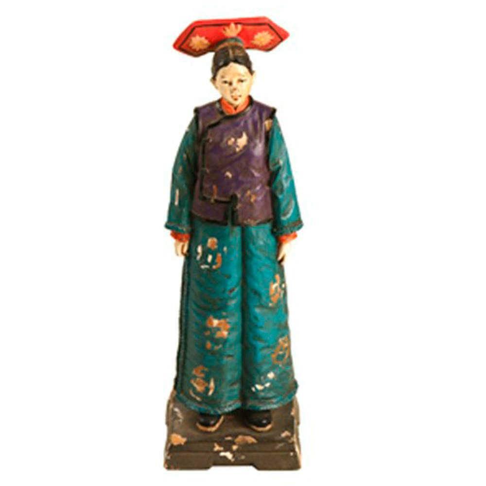 Escultura Mulher Dinastia Qing em Resina - 23x16 cm
