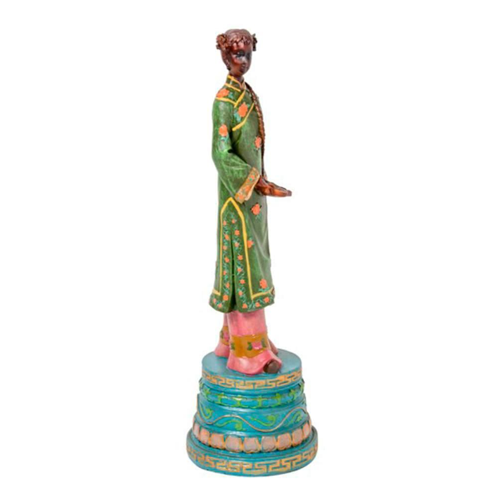 Escultura Mulher de Trança no Cabelo em Resina - 37x11 cm