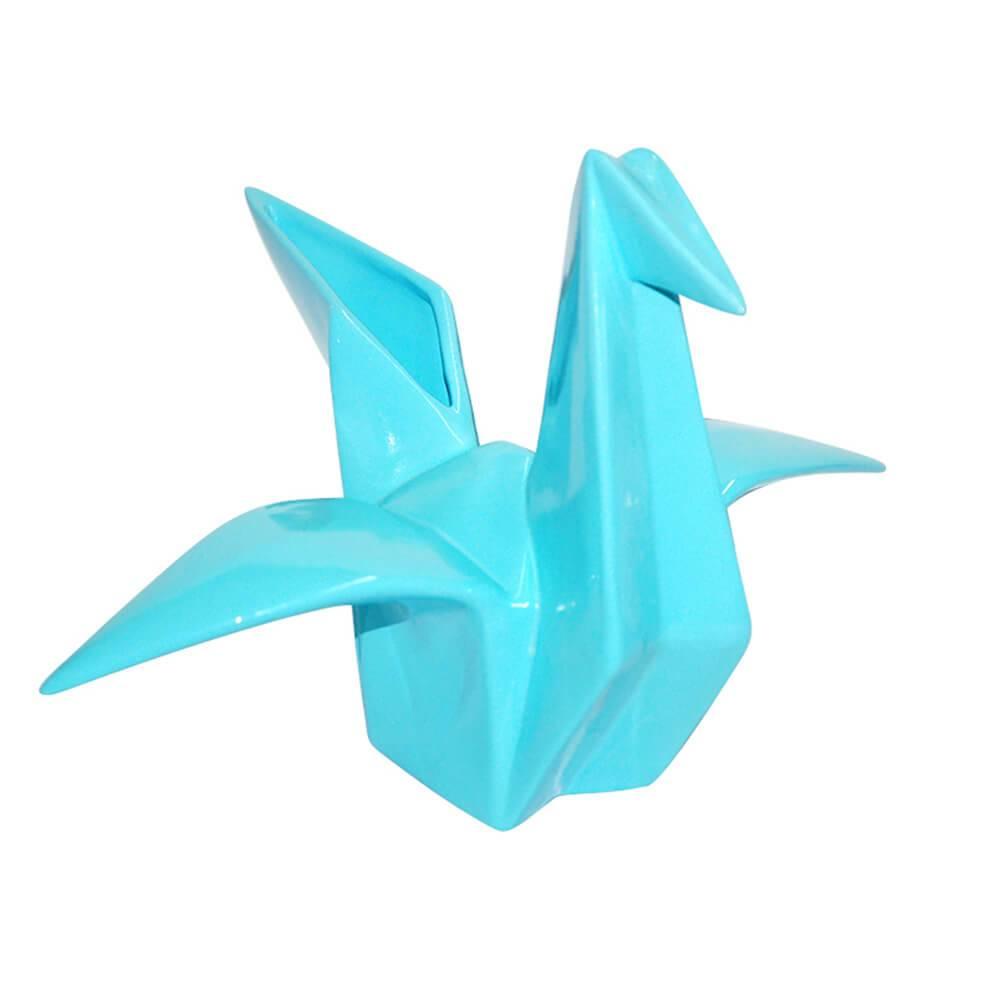 Escultura Origami Tzuru Azul em Cerâmica - Urban - 21,6x19,8 cm
