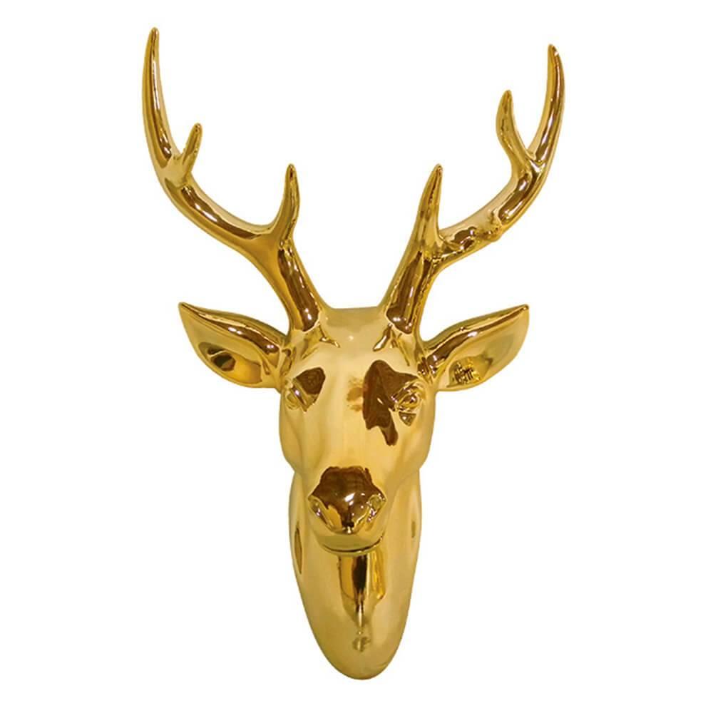 Escultura de Parede Cabeça de Cervo Dourado em Cerâmica - Urban - 44x29 cm