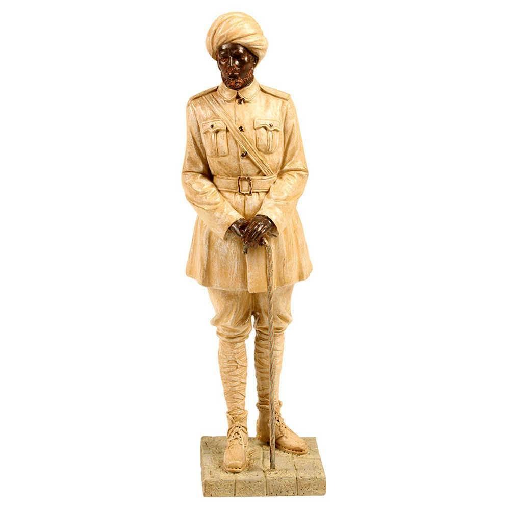 Escultura Polícia Indiana Bege em Resina - 44x12 cm