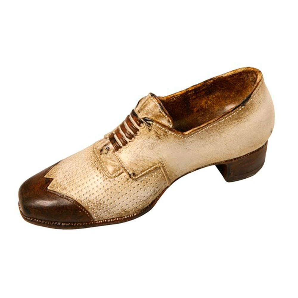 Escultura Sapato com Salto Decorativo Bege e Marrom em Resina - 21x9 cm