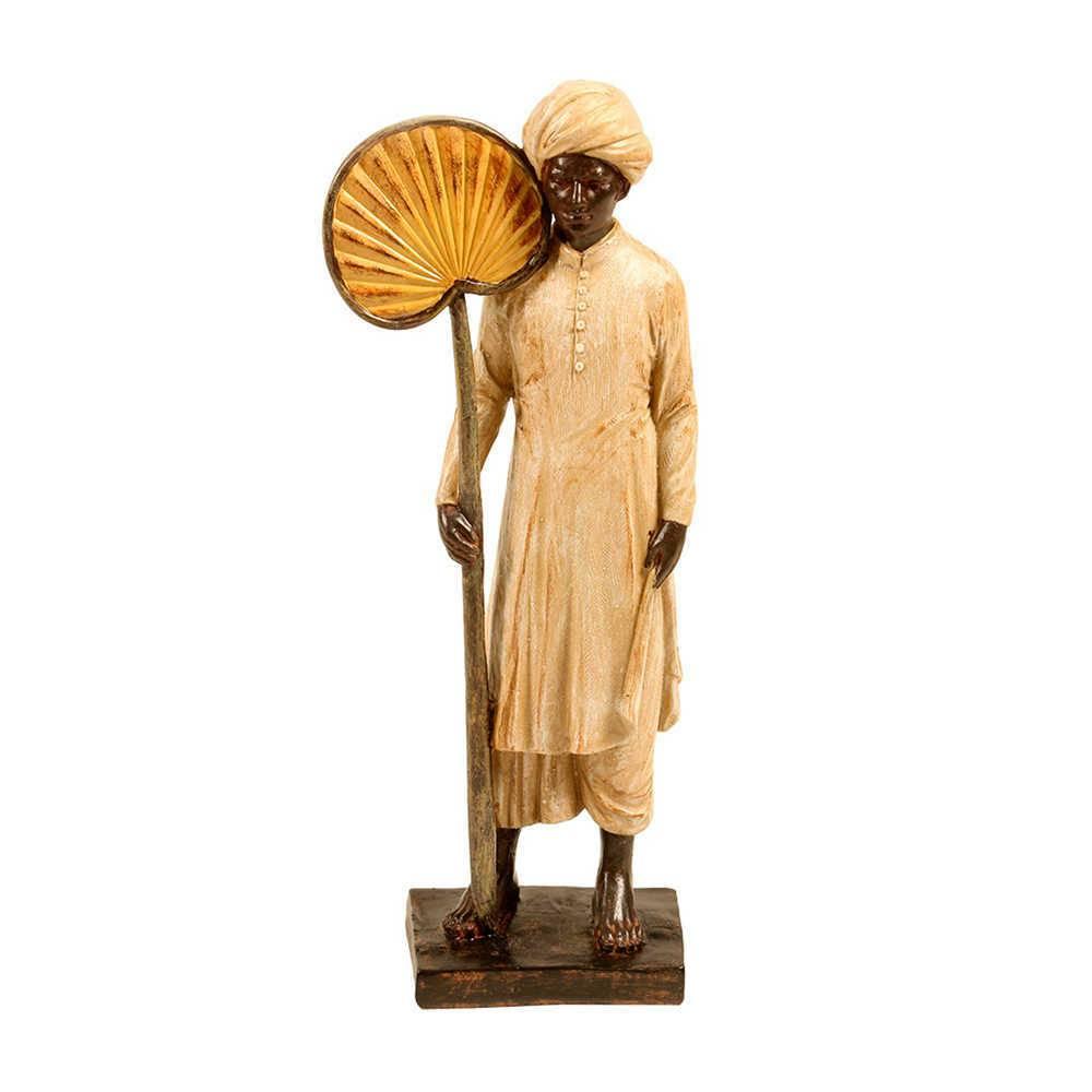 Escultura Servo Indiano com Abanador Bege e Marrom em Resina - 39x12 cm