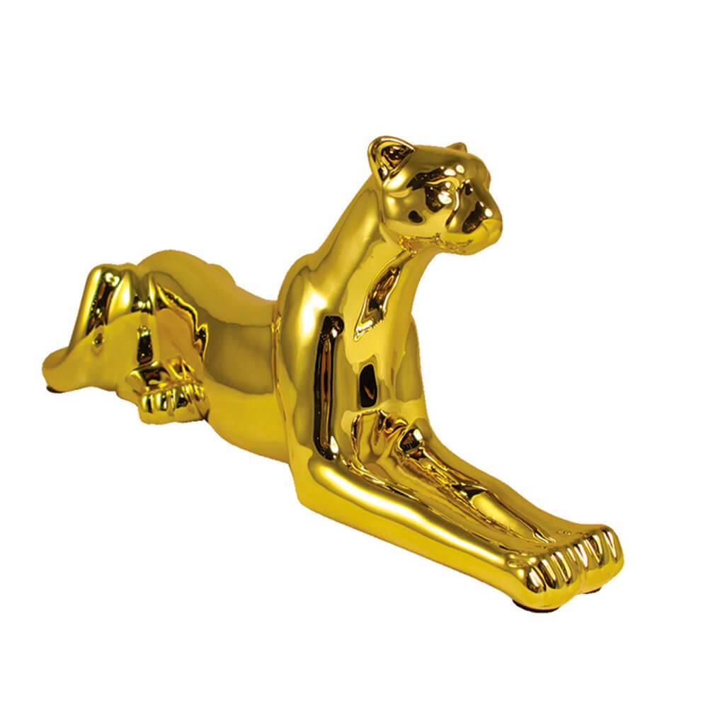 Escultura Skinny Steady Leopard Grande Dourado em Cerâmica - Urban - 56x19 cm