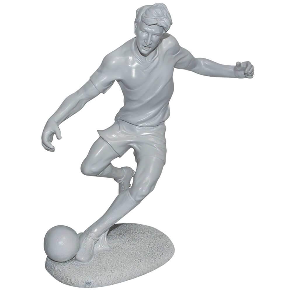 Escultura Soccer Player Branco em Resina - Urban - 30,5x28,5 cm
