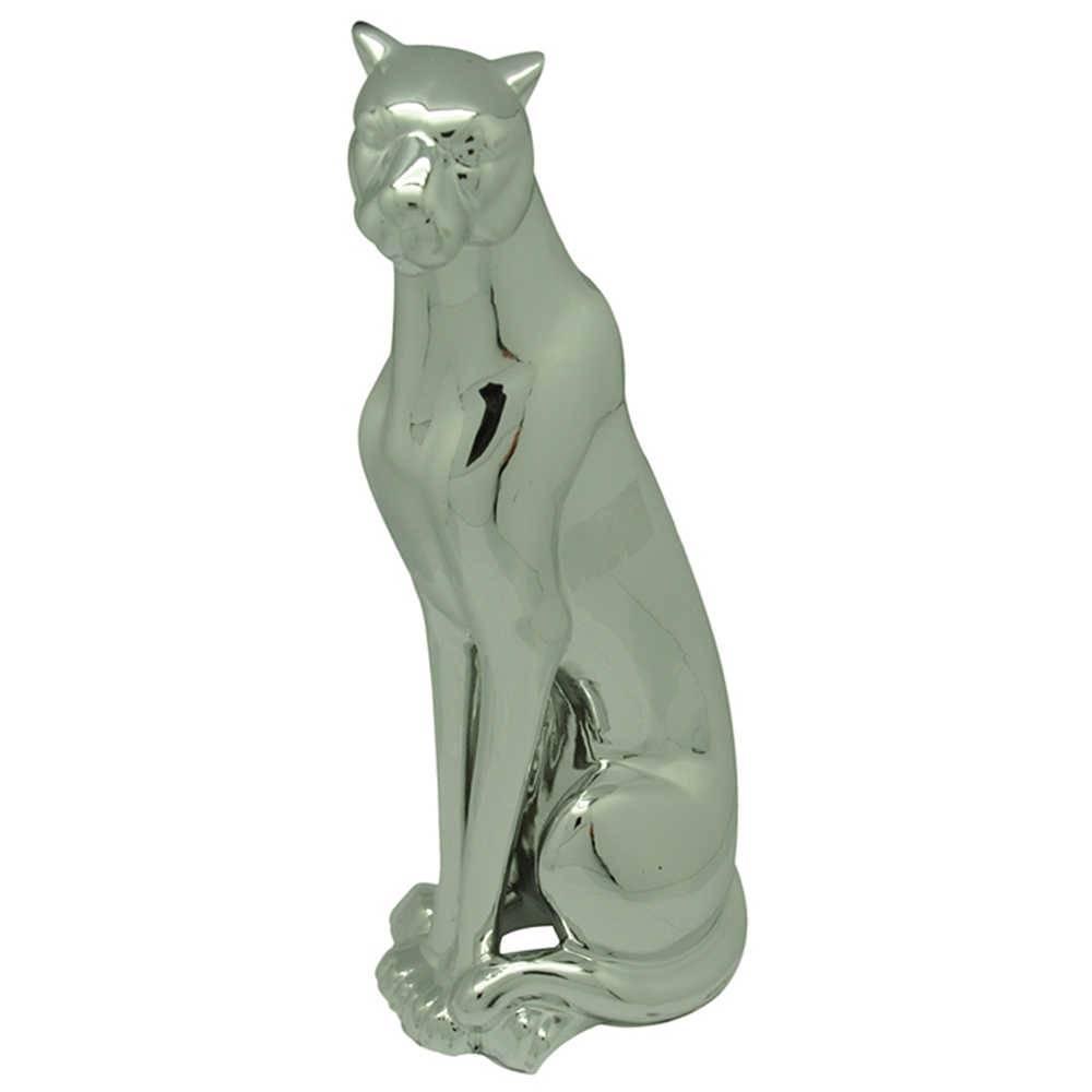 Escultura Steady Leopard Grande Prata em Cerâmica - Urban - 52x21,5 cm