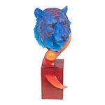 Escultura de Tigre Bengala em Resina Blue/Orange Fullway - 56x25 cm