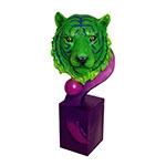 Escultura de Tigre Bengala em Resina Green/Purple Fullway - 56x25 cm