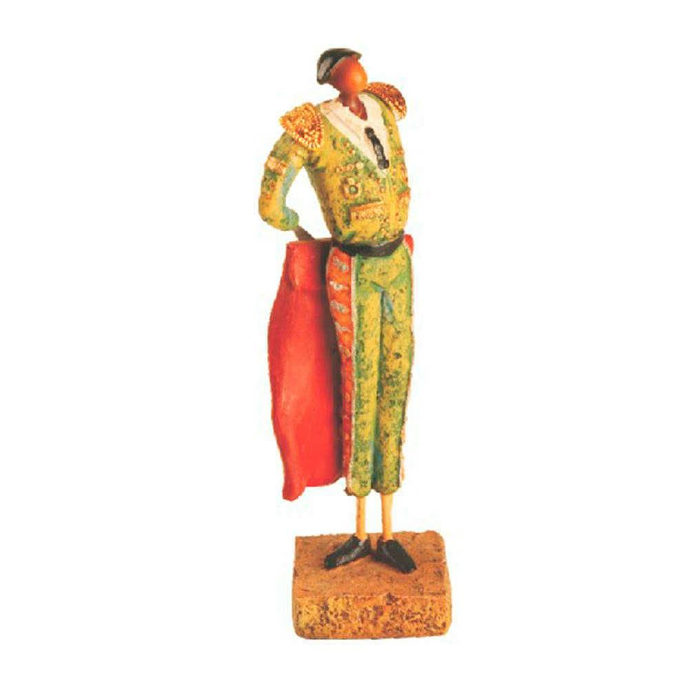 Escultura Toureiro de Traje Verde em Resina - 22x16 cm
