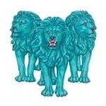 Escultura Trio Leões de Parede Blue Fullway - 89x87 cm