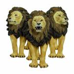 Escultura Trio leões de Parede Fullway - 89x87 cm
