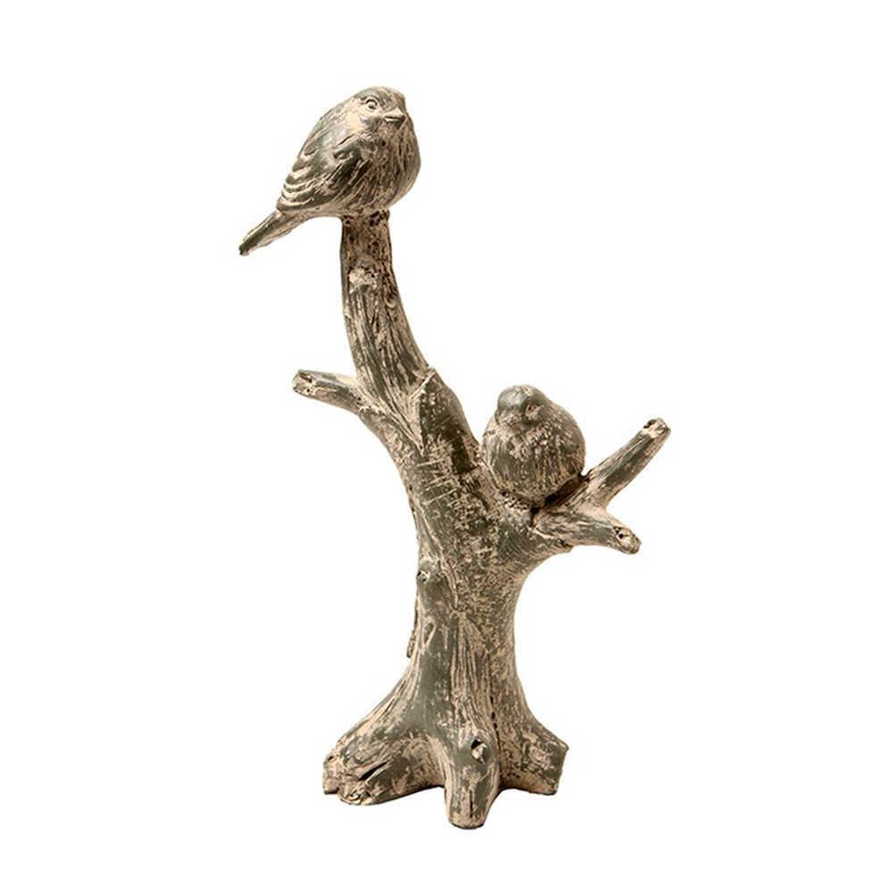 Escultura Tronco com Pássaros Cinza em Resina - 30x19 cm