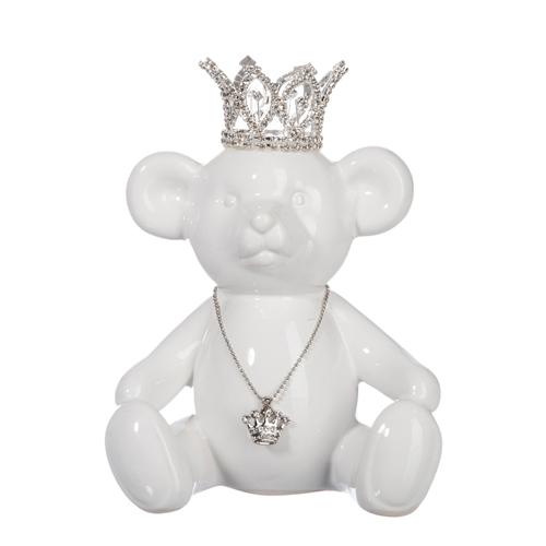 Escultura Urso Branco de Coroa em Cerâmica - 16x15 cm