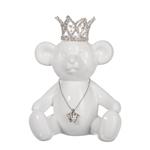 Escultura Urso Branco de Coroa em Cerâmica