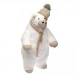 Escultura Urso Polar de Cachecol e Touca Branco em Tecido