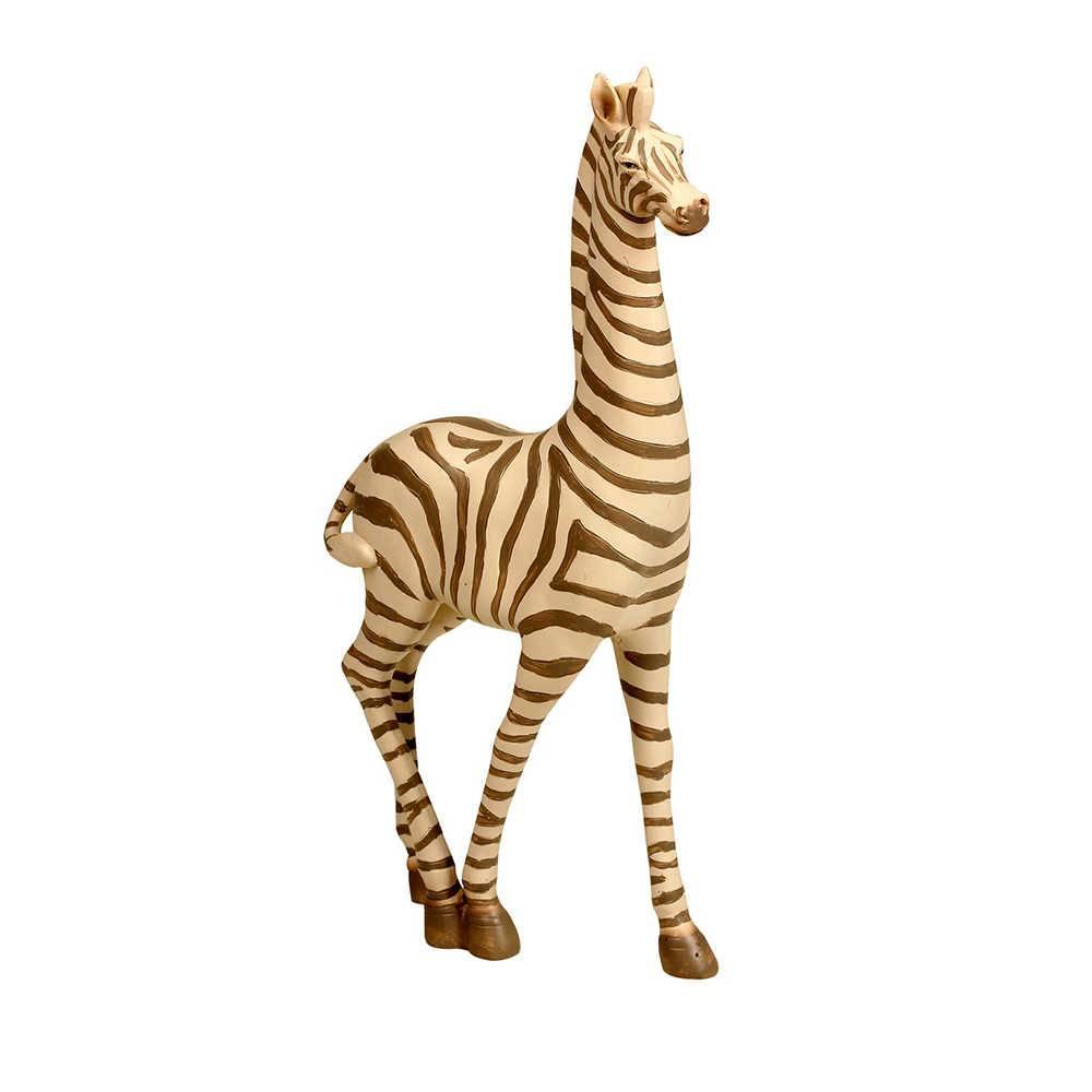 Escultura de Zebra Grande Em Resina - 35x16 cm