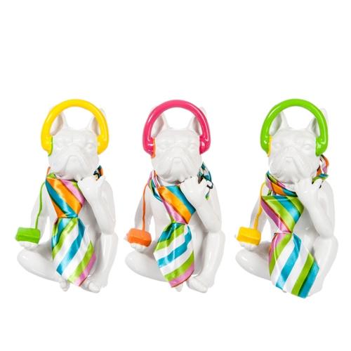 Esculturas Cachorros com Gravata em Cerâmica - 18,7x11 cm