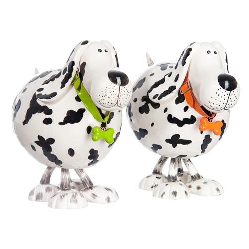 Esculturas Casal de Dalmatas Pequenos em Cerâmica - 17x15 cm