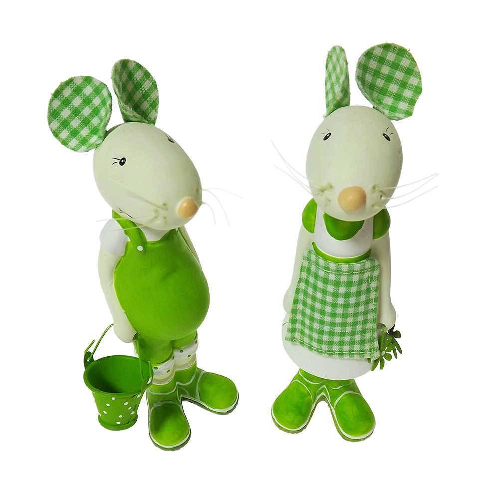 Esculturas Casal de Ratos Pequenos Verde em Cerâmica - 19x8 cm