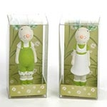 Esculturas Mini Casal de Ratos Verde em Cerâmica