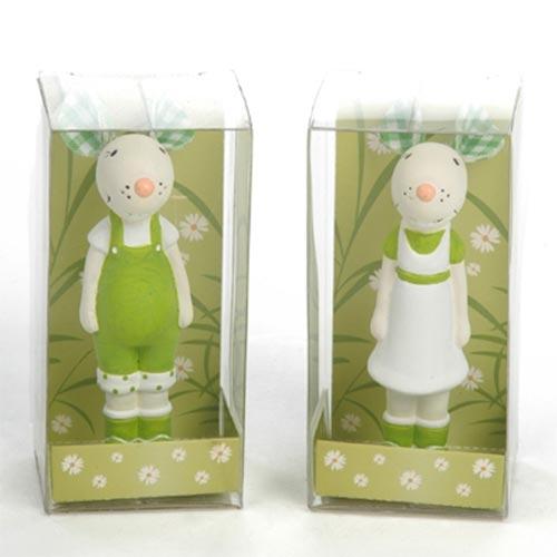 Esculturas Mini Casal de Ratos Verde em Cerâmica - 8x4 cm