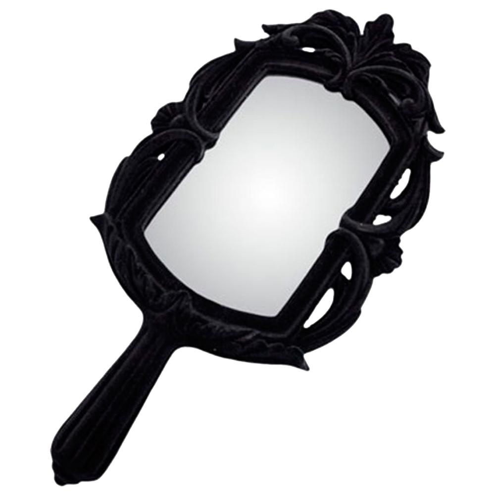 Espelho Baroque Black em Resina e Veludo Flocado - 44x22 cm