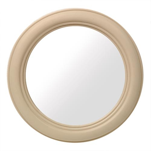 Espelho Bege Redondo Médio - 28x3 cm